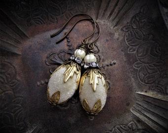 Vintage Bead and Swarovski Crystal Earrings