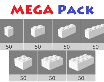 Custom colored MEGA pack of x350 various Bricks - LEGO® Bulk Parts
