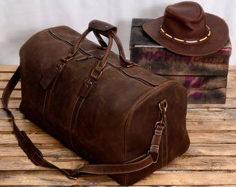 Brown Leather Duffel Bag - Vintage Carry On - Weekend Bag - Large Carry - Duffle Luggage Bag - Gym Bag - Overnight Bag - Cabin Travel Bag