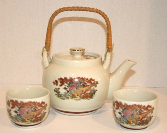 Japanese Teapot Set//Pheasants and Floral Motif//Teapot and Two Cups//Vintage Teapot Set