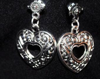 Antique Silver Open Heart Dangle Earrings