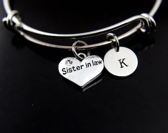 Sister in Law Bracelet Silver Sister in Law Charm Bangle Sister in Law Charm Sister in Law Jewelry Gift Personalized Bangle Initial Bracelet