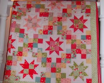 Handquilted Moda Patchwork Quilt  - Strawberry Fields - Wedding Housewarming Gift