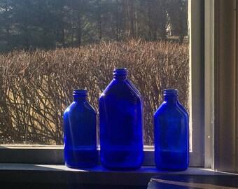 Set Three Vintage Cobalt Blue Bottles Old Milk of Magnesia Bottles