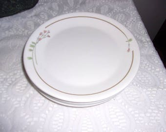 """Syracuse China Syralite 12C Blue And Pink Floral 4 Dinner Plates Restaurant Ware 9-3/4"""" Wide - Free Shipping"""