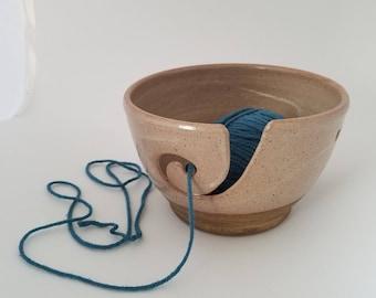 Handmade Ceramic Yarn Bowl in Shino Glaze - Knitting Crocheting Accessory - Yarn Organizer - Holiday Gift for Fiber Freaks!