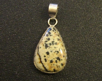 "Brand New Natural Dalmatian Jasper Gemstone 2"" Teardrop Pendant"