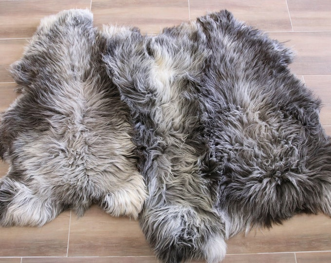 Triple Sheepskin Rug | Grey Sheepskin | Beige Sheepskin | Sheepskin Throw | Sheepskin Rug