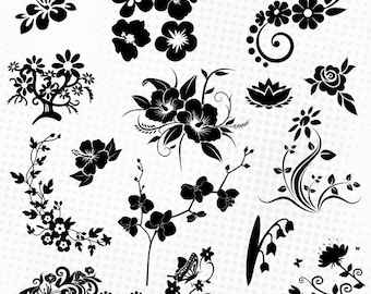 Flowers/Foral - 25 png/svg/dxf/eps/studio - Silhouettes, cutting files, vector images, flower clipart - Orchid, hibiscus, lotus, water lily