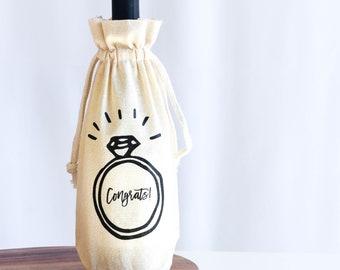Engagement Gift Wine Bag | Wedding Shower Wine Bag | Congrats Wine Bag