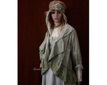 Laura - Bohemian Romantic Hand Dyed Linen Bolero Jacket with Frills Lagenlook Clothing OOAK
