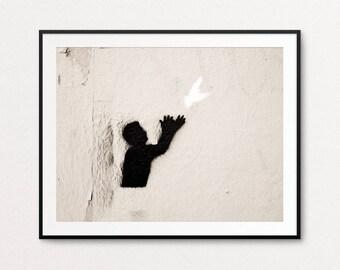 Paris Graffiti Photo - Paris Photography, Paris Print, Paris Street Art, Home Decor, Paris Decor, Hope,  Paris Wall Art, Paris Bedroom Decor