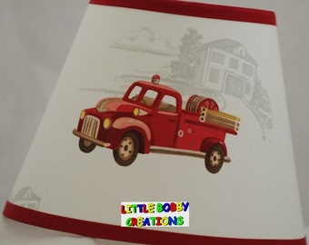 Emergency Fireman Firetruck Fire Truck Lamp Shade (10 Sizes To Choose From!)
