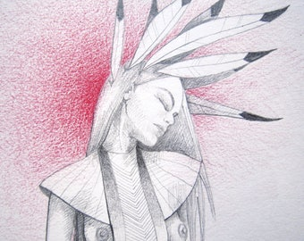 Original pencil drawing, woman with feathers red aura