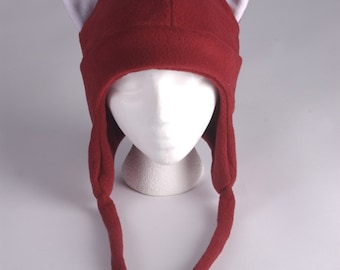 Fox Hat - Dark Red Fleece Earflap Womens Mens Aviator Hat with Ties by Ningen Headwear