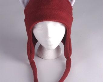Fox Hat - Dark Red Fleece Earflap Womens Mens Aviator Hat with Ties by Ningen Headwear