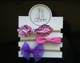 Pink & Purple Chevron Bow Headband Set.  Baby, Newborn, Infant, Toddler, Girl, Shower Gift, Nursery, Accessories,  Bright, Organza Ribbon