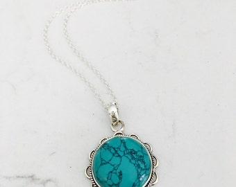 Turquoise Necklace Turquoise Jewelry boho chic necklace Genuine Turquoise Natural Turquoise Beach Jewelry Summer Jewelry Blue gift for her