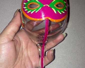 Ready to Ship! Hand Painted Mardi Gras Inspired 12oz Wine Glass - 2 to Choose from