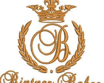 """Crown, laurel wreath and the monogram letter """"B"""""""