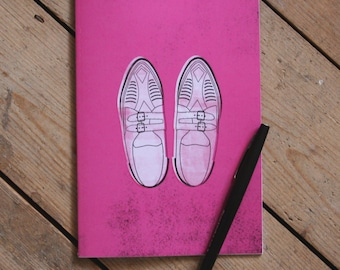 Pretty in Pink Duckie's Creepers Illustrated 1980s Movie Art A5 Lined Notebook - Stationery