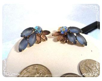 Frosty Blue & Pink Marquis Glass Rhinestone Earrings   E893a-081412000