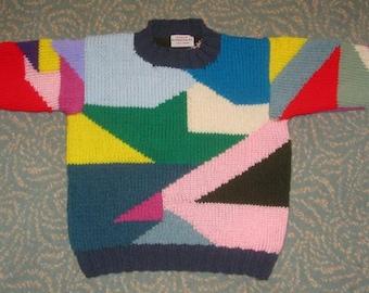 Patchwork Sweater - Child Size 8 - Hand Intarsia Knit Original Design Child Sweater - Bright Colors Intarsia Jumper - Made in USA Item 3016