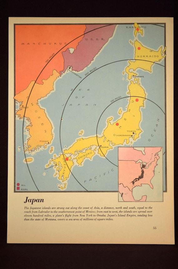 Japan Map of Japan Wall Art Colorful Map 1940s Tokyo