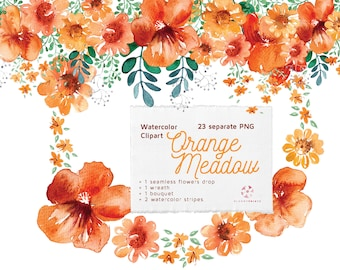 Watercolor Orange Meadow Clip Art Pack   Watercolour Floral Set   Hand drawn   Orange Flowers   Hand Painted Wedding graphics   invitations