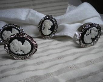 4 METAL CAMEO DECOR CHRISTMAS NAPKIN RINGS