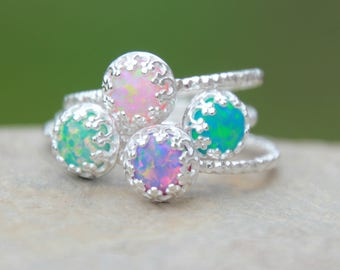 OPAL RING - 6mm Fancy Opal Stacking ring ~ Glitter Band Opal ring - Sterling silver opal ring - 16 DIFFERENT Opals-stacking gemstone ring