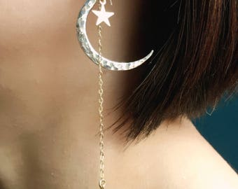 Crescent Moon earrings and Star Ear climber, Crescent Moon Shoulder Duster earrings, Sterling Silver Star Ear Crowler