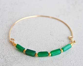 Bracelet Bangle green Onyx Gold filled 14 K-jewelry-designer gemstone Bracelet and gold plated - gift-Elle Christin stone jewelry