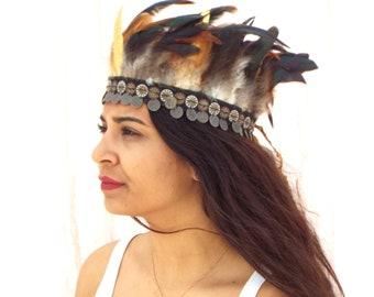 Bohemian Feather headband , Native american Boho headband , Feather accessories , Feather jewelry , Gypsy headband , Native headband