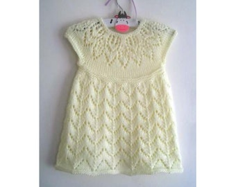 Polly Dress - Knitting Pattern - Baby girl to age 6  - Instant Download PDF