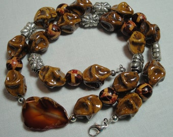 Brown Silver Petrified Wood Focal Bead necklace