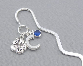 Personalized bookmark, flower bookmark, silver initial, crystal birthstone, student, literary gift, bookworm gift, silver hibiscus, hawaii