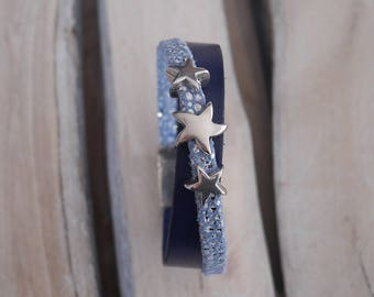 Navy blue leather strap and light blue with passing Star (BR11)