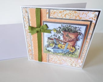 blank cards, greeting cards, 3-D cards, dimensional cards, layered cards, cards peach cards, orange cards