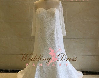 Plus Size Wedding Dress with Sleeves in Embroidered Lace and Keyhole back
