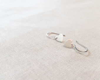 Sterling Silver Hammered Heart Earrings - Simple Modern Faceted Hammered Artisan Tiny Hearts Dangle Drops Minimalist Gift Anniversary
