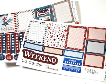 Patriotic Planner Stickers - Independence Day - 4th of July - Weekly Planner Stickers - Happy Planner - Erin Condren - Functional Stickers