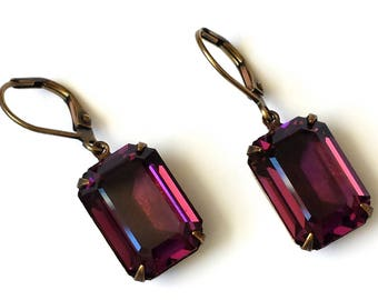 Amethyst Crystal Earrings Swarovski Purple Rhinestone Earrings Swarovski Amethyst Earrings Purple and Gold Earrings Romantic Earrings