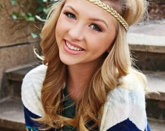 Boho Headband - Gold White Braided Headband - Hippie Headband - Bridal Headband - Boho Headband - Halo Headband - Adult Headband