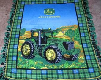 Vintage John Deere Fleece Hand Tied Throw Cover Featuring Illustration of Deere Tractor NICE!!
