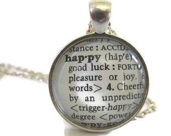 HAPPY Necklace, Happy Definition, Inspirational Jewelry, Word Definition Necklace, Bronze or Silver