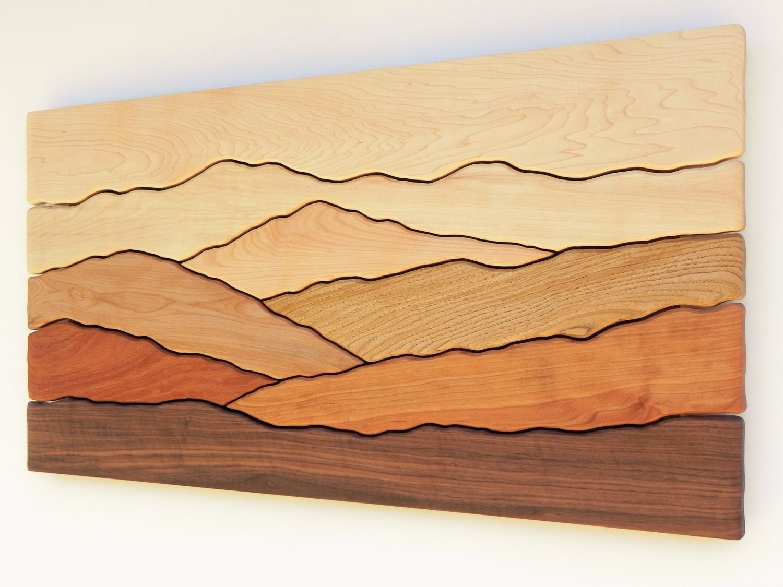 Mountain scene wall art /Sugar maple, Yellow birch, Red birch ...