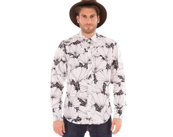 Mens 100% Linen Long Sleeve Slim Fit Shirt White Black Floral Flower Print