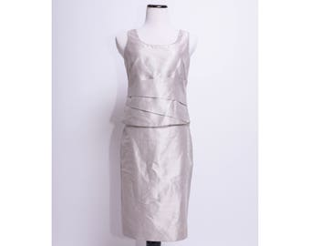 GIORGIO ARMANI COLLEZIONI Silver Silk 2 Piece Skirt / Suit Set