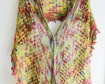 Lightweight Crochet Blossoming Spring Wrap Shawl